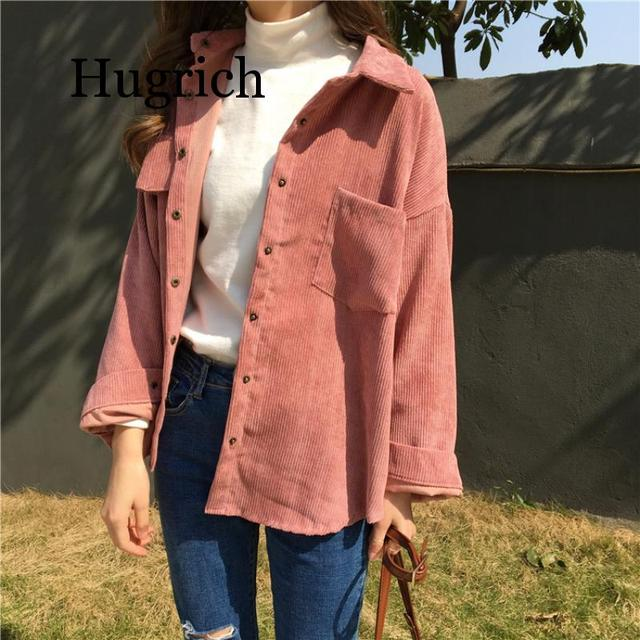 2020 Spring and autumn Loose Shirts Korean Solid Blouse Long Sleeve Corduroy blouses Women Tops outwear coats 1