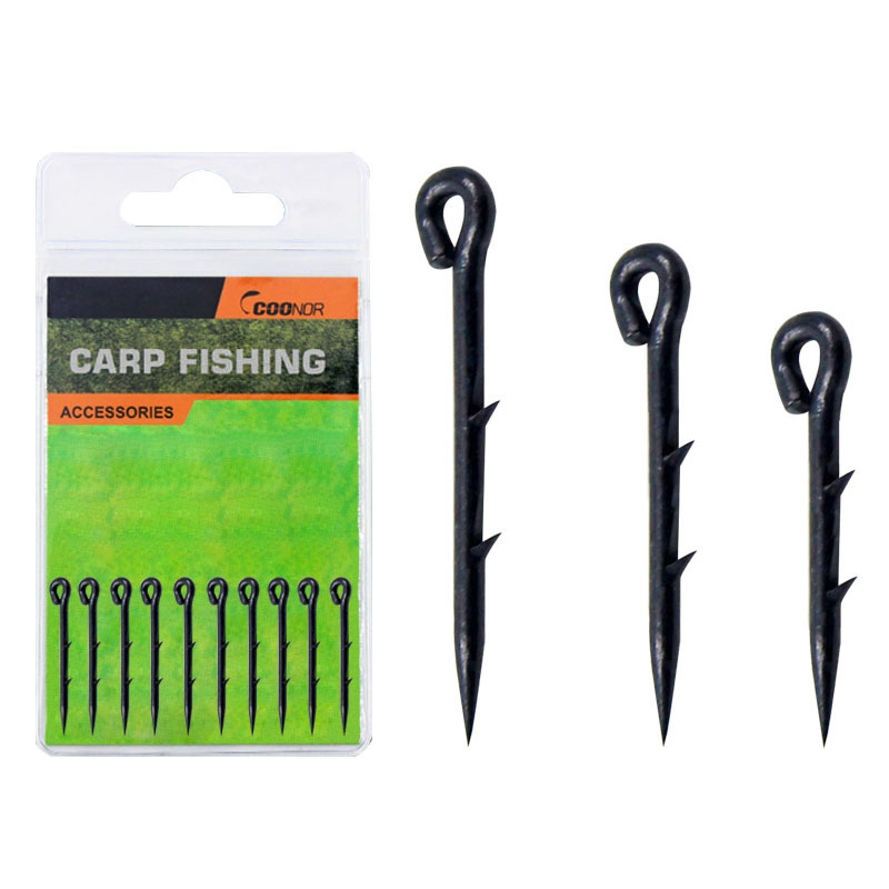 10pcs Metal Fishing Hook Sting Pin Spike Barbed Maggot Bait Hair Rigs Carp Feeder Fishing Accessories Size S/M/L