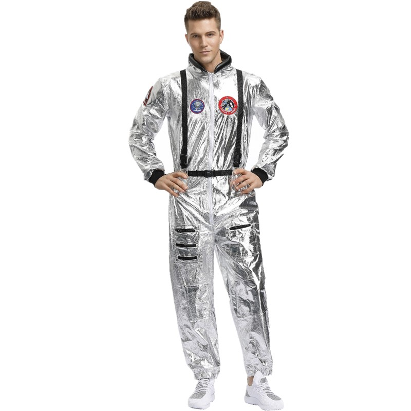 Image 2 - Halloween Silver Pilot Astronaut Alien Spaceman Cosplay Costume Carnival Party Couple One Piece JumpsuitHolidays Costumes   -