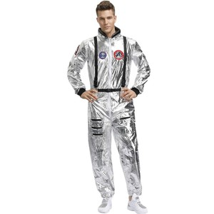 Image 2 - Halloween Silver Pilot Astronaut Alien Spaceman Cosplay Costume Carnival Party Couple One Piece Jumpsuit