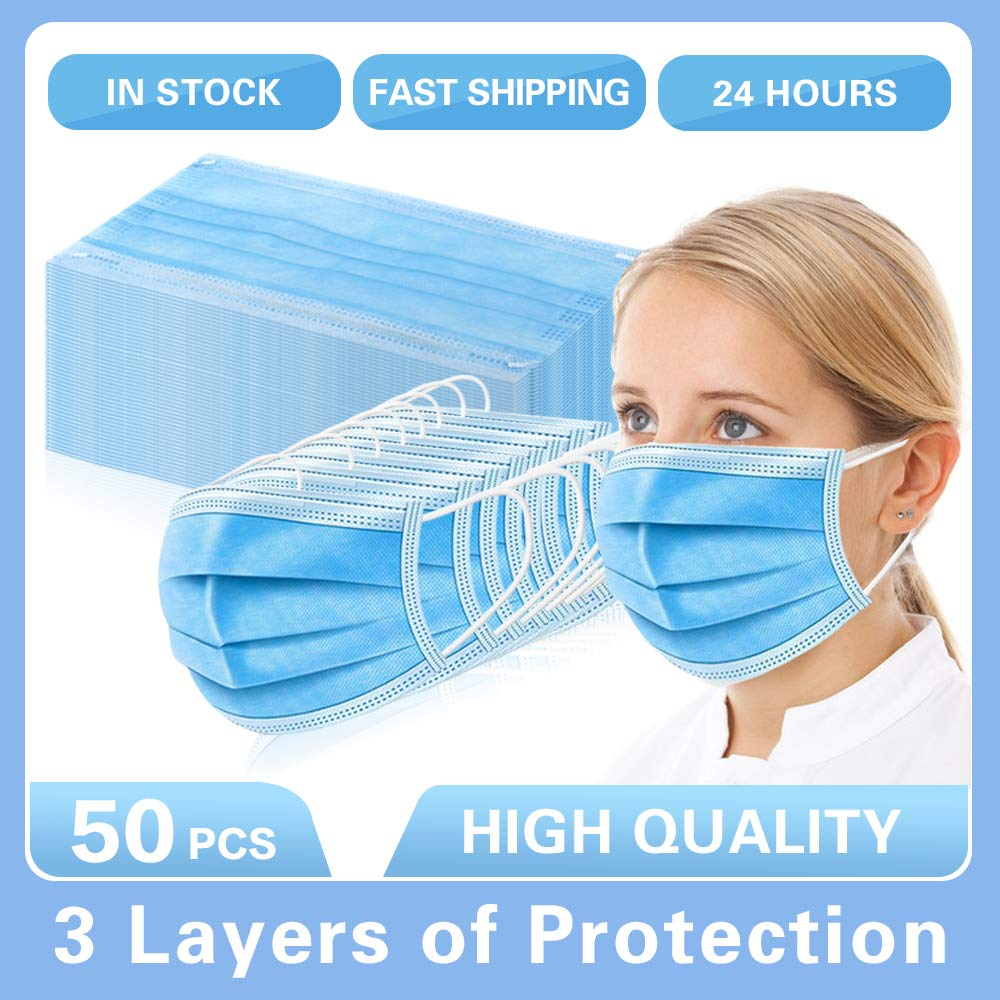 10/20/50Pcs 50Pcs/lot Disposable Protective Mask 3 Layer Nonwove Ply Filter Mouth Face Mask Anti-Dust Anti-Fog Meltblown Earloop