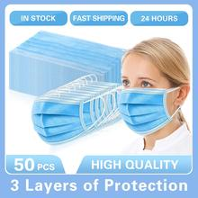 10/20/50Pcs 50Pcs/lot Disposable Protective Mask 3 Layer Nonwove Ply Filter Mouth Face Mask Anti Dust Anti Fog Meltblown Earloop