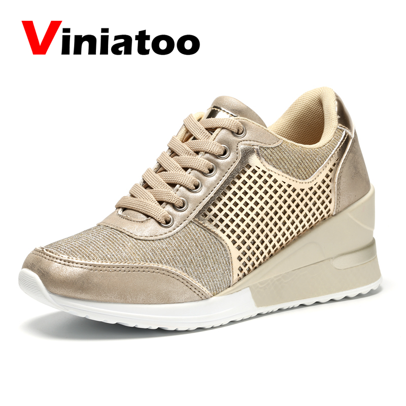 Women Walkig Shoes Ladies 6.5 Cm Height Increasing Sport Sneakers Outdoor Lightweitht Running Shoes Spring Athletic Gym Trainers
