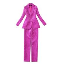 Fashionable Womens Long Sleeve Suit 2019 temperament corduroy rose red winter suit Pants Office jacket set two-piece