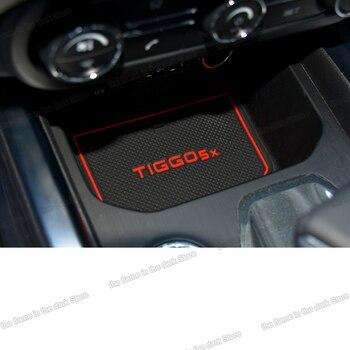 Lsrtw2017 Silica Gel Car Door Slot Mat  Trims for Chery Tiggo 5x 2017 2018 2019 2020 lsrtw2017 carbon fiber leather car co pilot storage box anti kick mat for chery tiggo 8 2018 2019 2020
