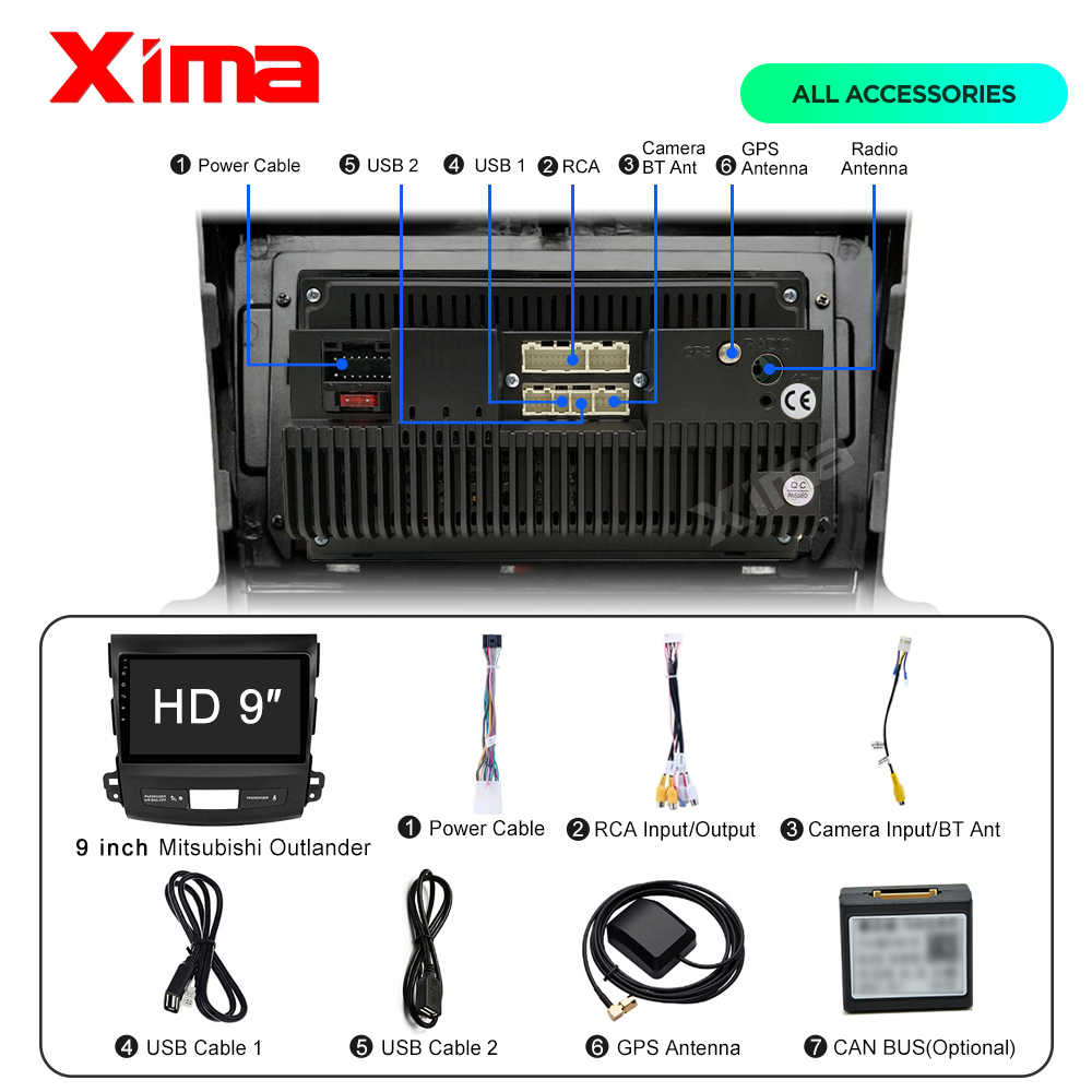 Xima 2 DIN Android 9.0 Multimedia Player untuk Mitsubishi Outlander XL 2005 2006 2007 - 2013 2014 Mobil Radio Auto stereo Android
