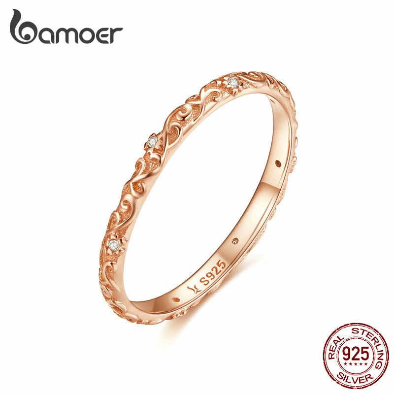 Bamoer, кольцо на палец с розовым кристаллом для женщин, розовое золото, аутентичное, 925, серебряное кольцо, роскошное, хорошее ювелирное изделие SCR534
