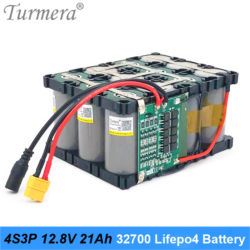 Turmera <font><b>32700</b></font> Lifepo4 <font><b>Battery</b></font> <font><b>Pack</b></font> 4S3P 12.8V 21Ah with 4S 40A Balanced BMS for Electric Boat and Uninterrupted Power Supply 12V image