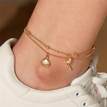 Ailodo Boho Shell Tree Anklets For Women Double Layers Gold Color Chain Summer Beach Fashion Bohemian Jewelry Gift LD285