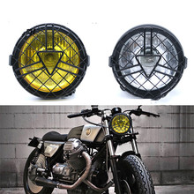 Motorcycle Headlight Retro Metal Grid Lampshade Grill Cover Vintage Bracket Head Lamp For CG125 GN125 Harley Cafe Racer Honda