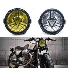 Motosiklet far Retro Metal ızgara abajur ızgara kapağı Vintage braketi kafa lambası CG125 GN125 Harley Cafe Racer Honda