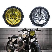 Reflektor motocyklowy Retro metalowa siatka abażur osłona grilla Vintage uchwyt lampa czołowa dla CG125 GN125 Harley Cafe Racer Honda