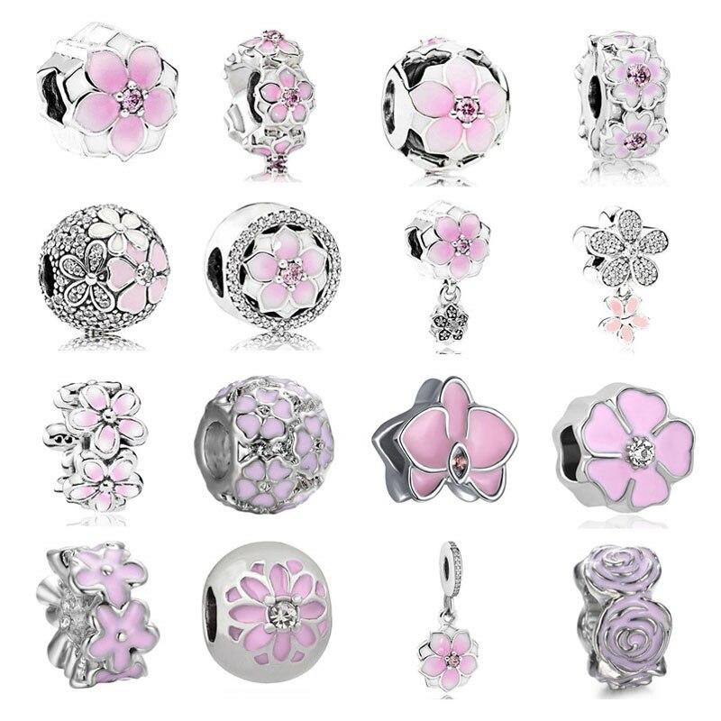2020 new free shipping 4pcs/lot mix pink flower clip pendant diy jewelry bead fit Pandora charms bracelet X069(China)