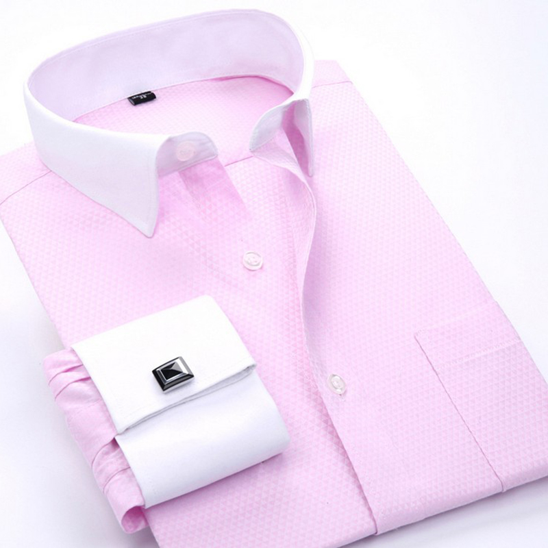 Men's Dress Shirts Loose French Cuff Regular fit Luxury Striped Business Long Sleeve Cufflinks Social Pluse Size Men Shirt 6XL 10