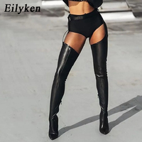 EilyKen High Quality PU Leather Over Knee Boots Rihanna Style Thigh High Booties Sexy Pointed Toe Buckle Strap Zip Woman Shoes