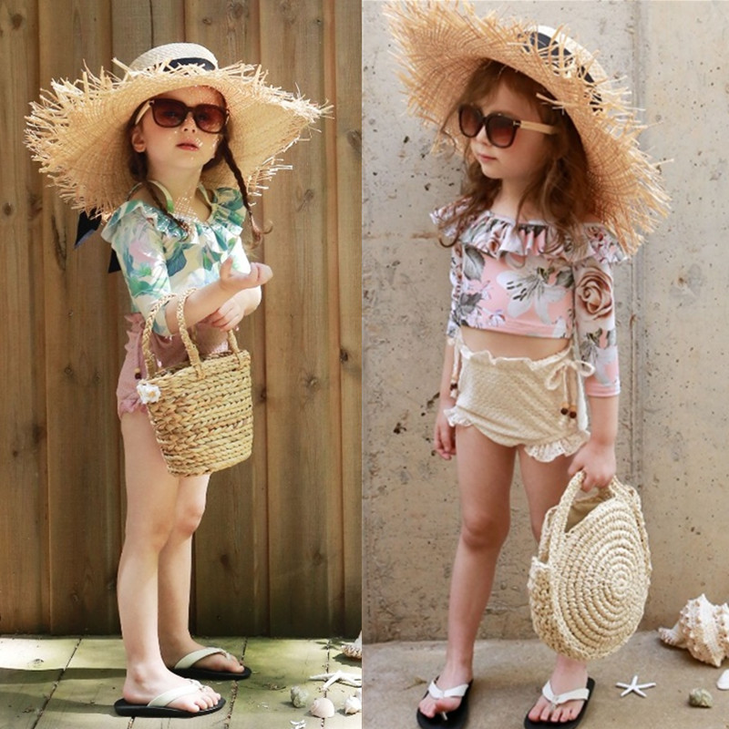 Japanese Korean Children Split Type Two Piece Set Bathing Suit Long Sleeve Sun-resistant Frilled High Waist Briefs Girls Swimwea