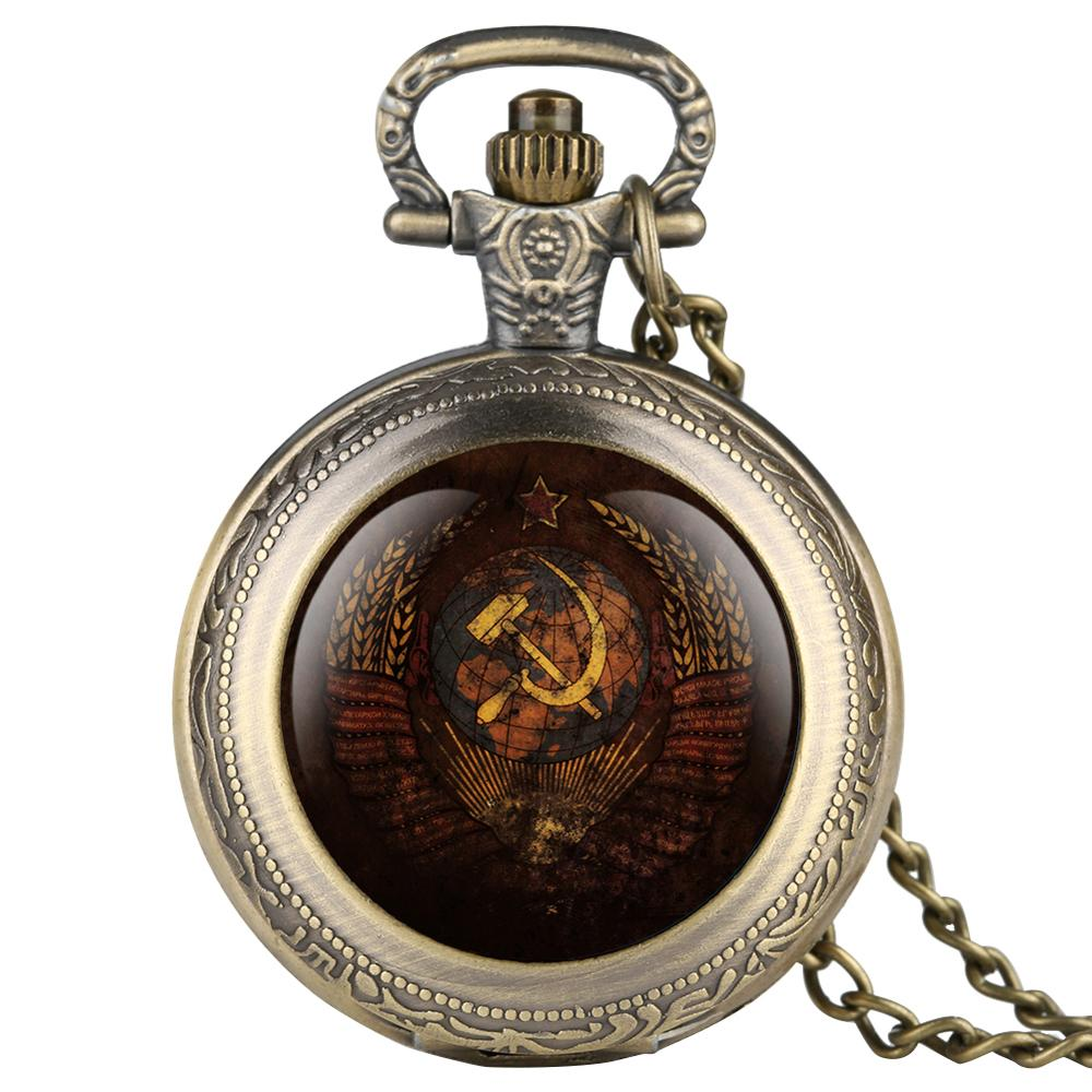 Vintage Soviet Hero Stalin Quartz Pocket Watch For Men Antique Bronze Cccp Pendant Watches Women Necklace Clock Gifts