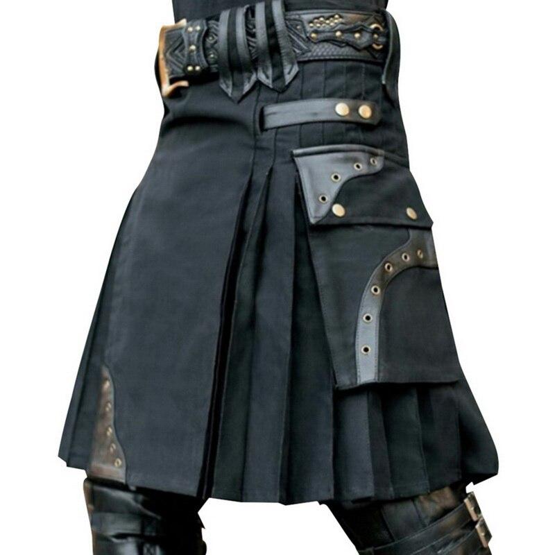 2019 New Scottish Mens Kilt Traditional Skirt Metal Classic Retro Traditional Personality Kilts Check Pattern Men Skirts