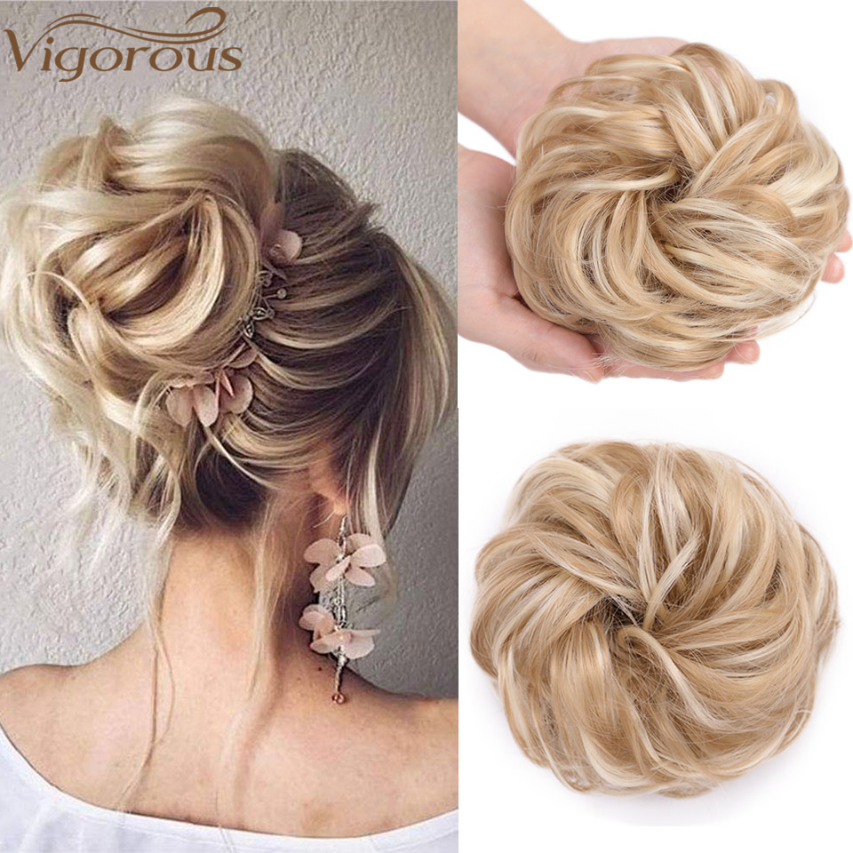 Vigorous Synthetic Hair Bun Extensions 2PCS Curly Chignons Messy Donut Chignons Hair Piece Scrunchie Scrunchy Updo Hairpiece