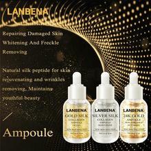 LANBENA Gold Silk+Silver Silk+24K Gold Ampoule Serum Collagen Anti-Aging Lighten