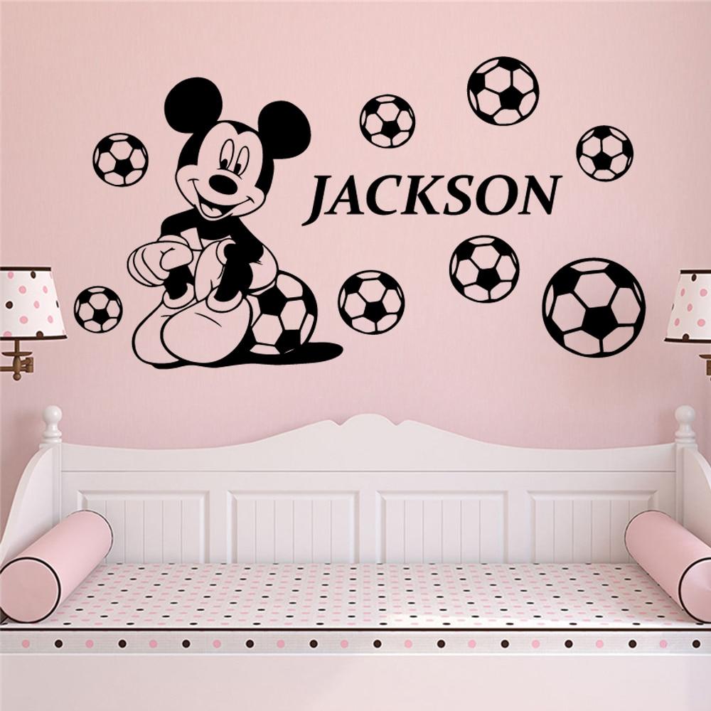 Disney Mickey Custom Name Waterproof Wall Stickers For Kids Room Vinyl Decals Baby Bedroom Accessories Wallpaper Art Mural Wall Stickers Aliexpress