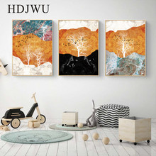 Art Modern Canvas Painting Wall Picture Home Tree Creative Printing Poster for Living Room  DJ425