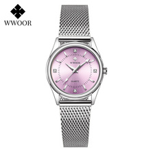 reloj mujer WWOOR Women Watches Luxury Diamond Silver Pink Ladies Bracelet Wrist