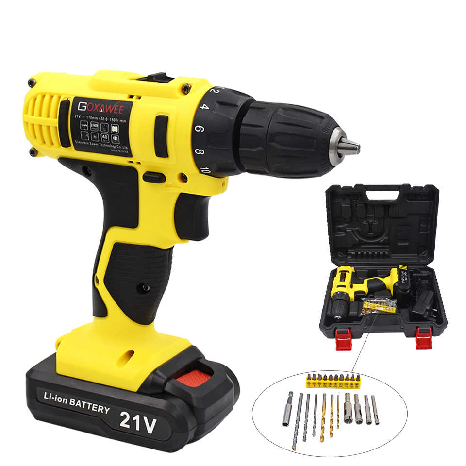 GOXAWEE Electric Drill Screwdriver With Rechargeable Lithium Battery Cordless Screwdriver Two-speed Power Tools 12V 21V