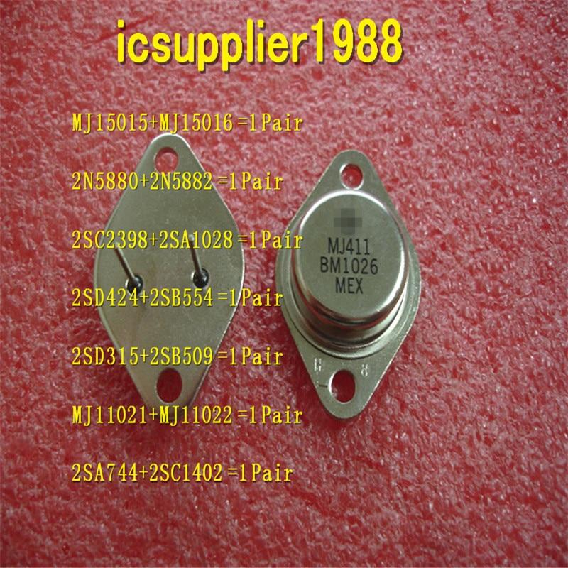 MJ15015+MJ15016, 2N5880+2N5882, 2SC2398+2SA1028, 2SD424+2SB554, 2SD315+2SB509, MJ11021+MJ11022, 2SA744+2SC1402 All Are 1pcs+1pcs