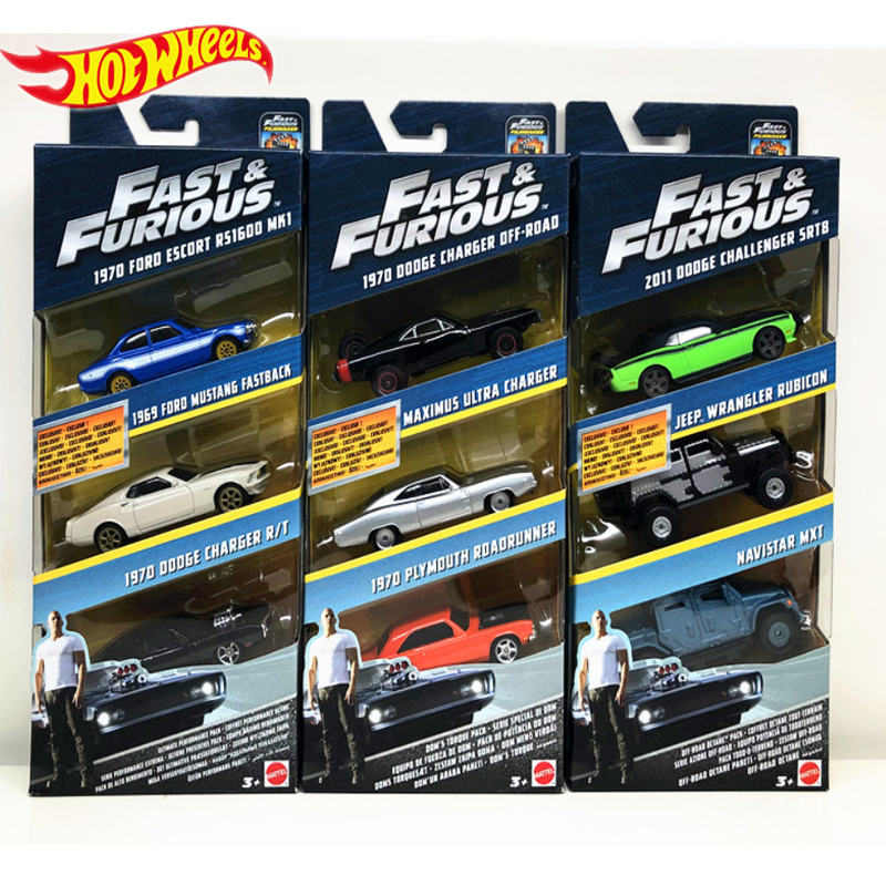 Genuine Hot Wheels Fast and Furious Series 3 Cars Dodge Charger Preferential Pack Kid Toys Boy Birthday Gifts FCG01