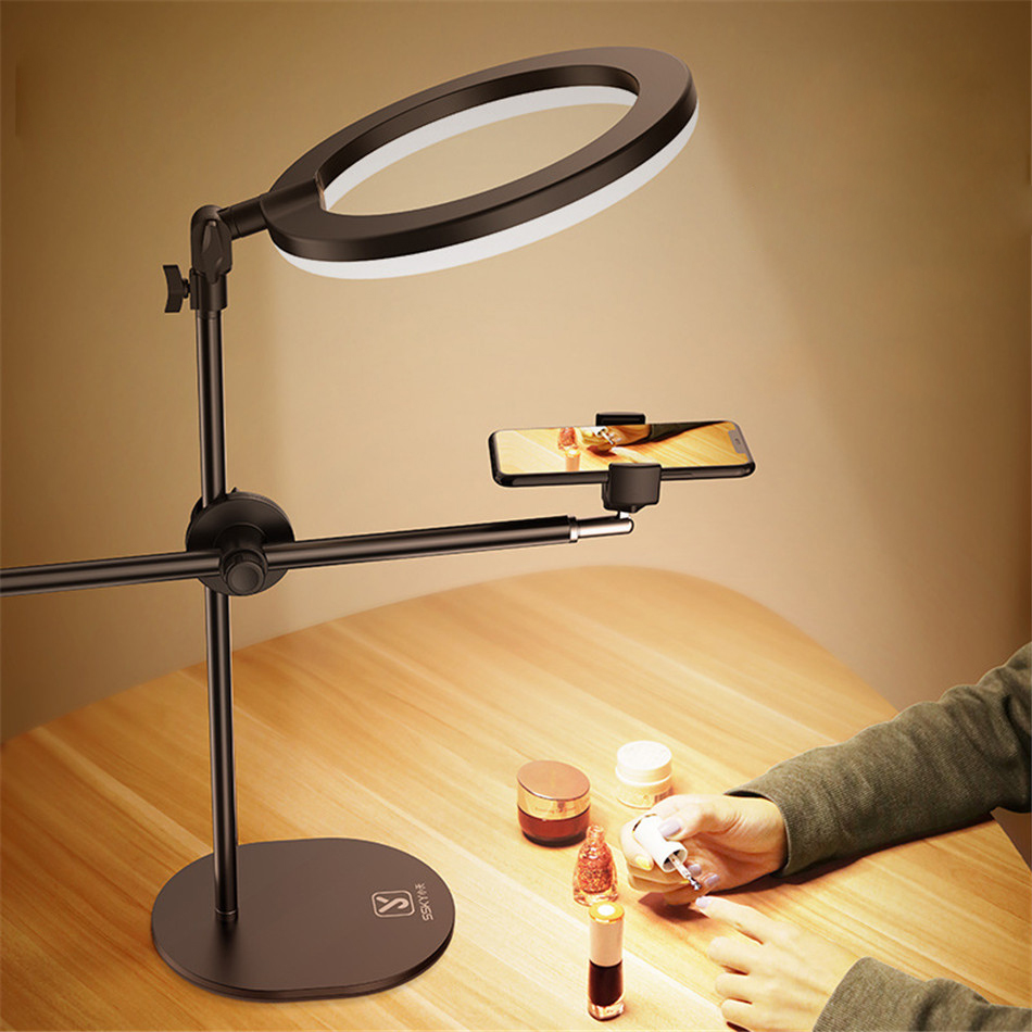 Monopod suporte de montagem com led anel flash luz lâmpada mesa suporte tripés com suporte do telefone móvel overhead shot para a arte do prego