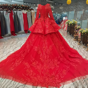 Image 2 - LS2771 red brides wedding party dresses with peplum o neck long tulle sleeve lace up back beauty cheap evening dress real price