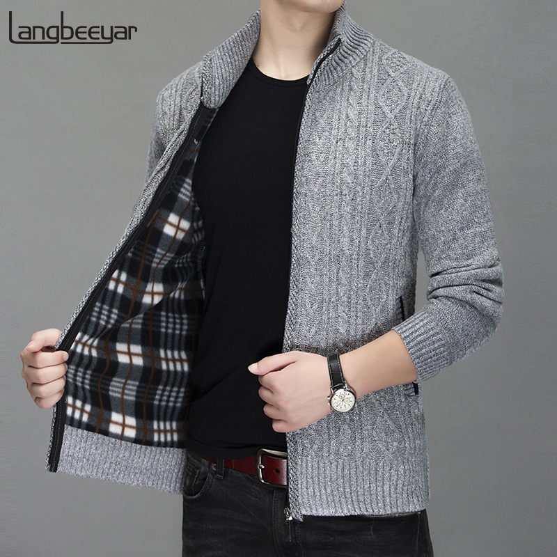 2020 Thick Warm New Fashion Brand Sweater Cardigan For Men Slim Fit Jumpers Knitred Winter Korean Style Casual Mens Clothes