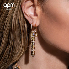 Egyptian style asymmetric long Earrings 925 Sterling Silver micro inlaid zircon fashion personality high-end women's model