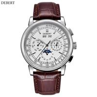 Debert Watch Men 42mm Top Brand Moon phase White Dial Silver stainless steel Case Seagull Automatic watch часы мужские