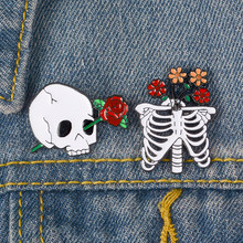 Death Love Enamel Pin Skeleton Rib cage Rose Flower badge brooch Lapel pin Shirt bag Collar Halloween Jewelry Gift for Friends(China)