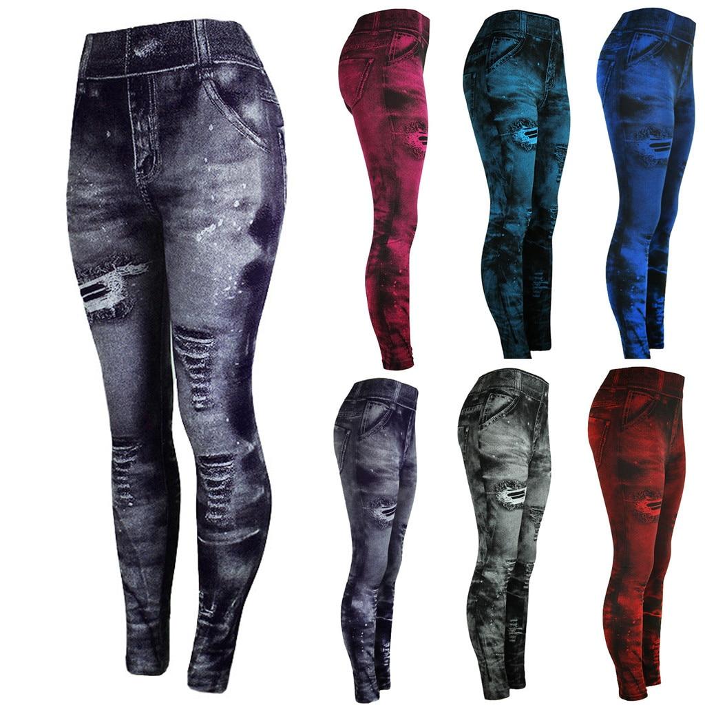 2019 Imitation Cowboy Printed Leggings Women High Waist Slim Elastic Pencil Pants Plus Size Sexy Jeans Leggings
