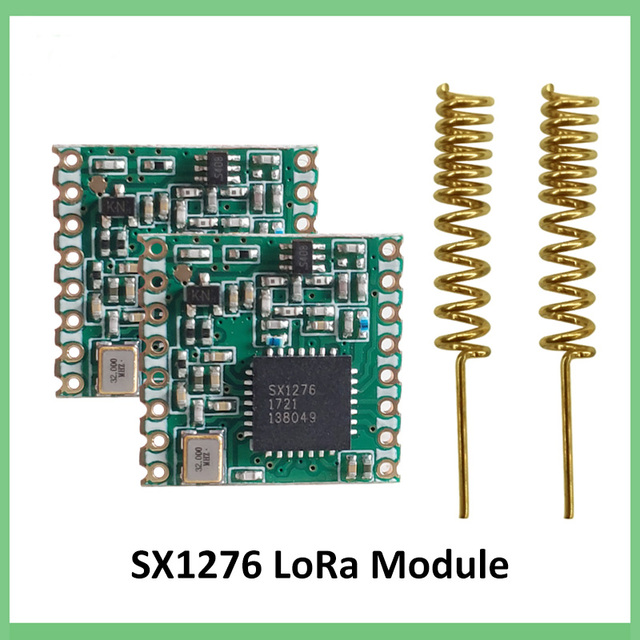 2pcs 868MHz LOW RF โมดูล Lora SX1276 ชิปยาว ระยะทางการสื่อสารตัวรับสัญญาณและเครื่องส่งสัญญาณ SPI IOT + 2 PCS เสาอากาศ