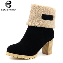 BONJOMARISA New Hot Sale Fashion turned-over Edges Booties Ladies Platform Ankle Boots Women 2019 High Heels Shoes Woman 34-43