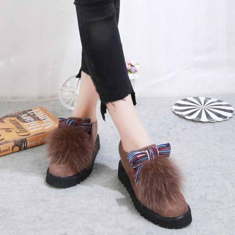 Yuvarlak ayak moda kürklü mokasen kadın akın Riband peluş sıcak makosen ayakkabı karışık renkler rahat tatlı daireler üzerinde kayma ayakkabı