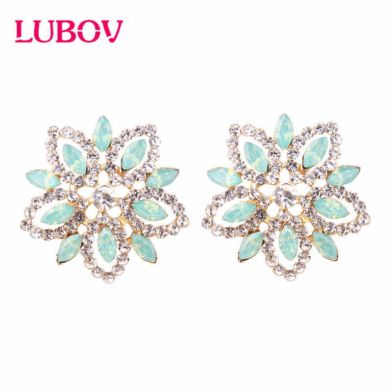 LUBOV 2019 NEW Korea Exaggerate Big Flower Earrings Golden Crystal Opal Stud Earrings Women Friendly Christmas Gifts for Girls