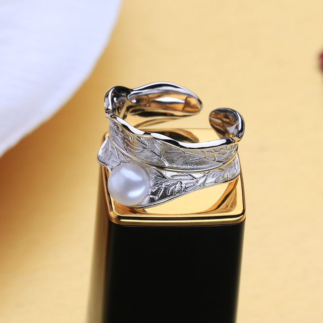 925 Sterling Silver Ring Natural Freshwater Pearl Rings