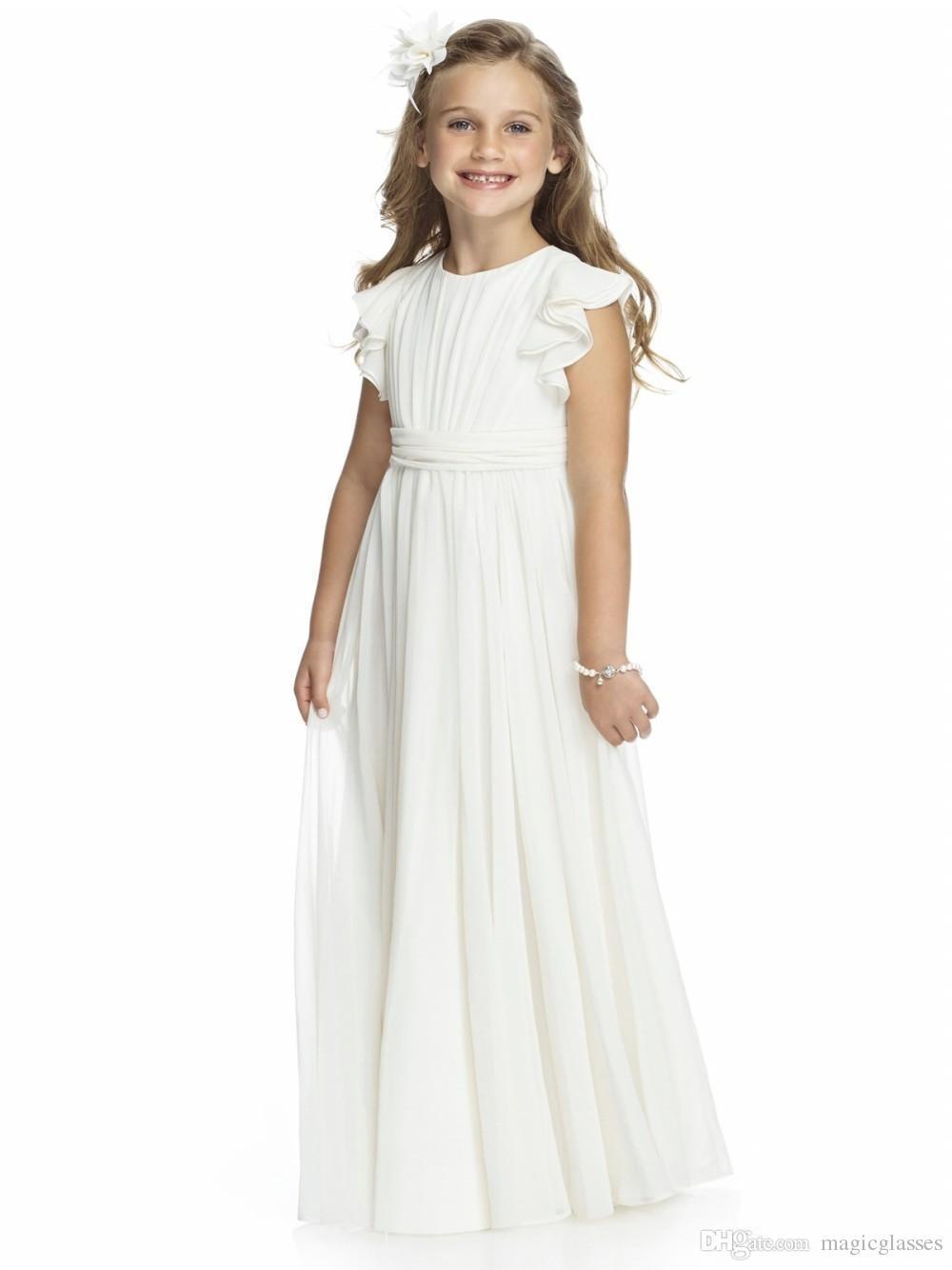 Chiffon Long Floor Length For Weddings 2020 Custom Vestido Infantil Festa Cheap First Communion Gown Flower Girls Dresses