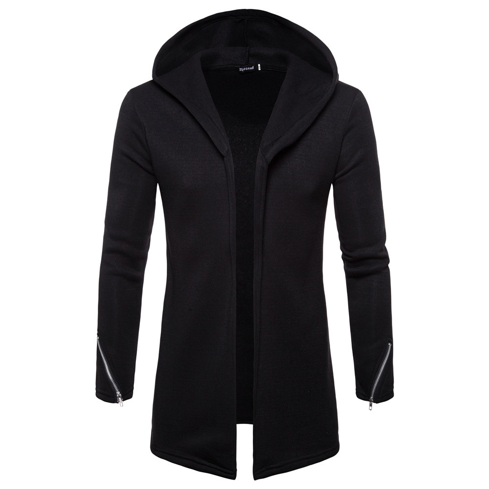Coats Sweatshirts Cardigan Outwear Blouse Jacket Hooded Zipper Men's Fashion Solid Long-Sleeve title=