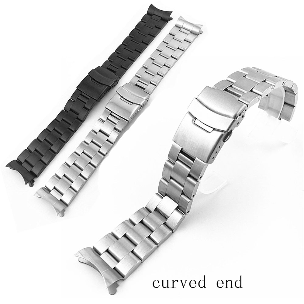 20mm 22mm Women Men Watch Band Replacement Wrist Watch Strap Curved End 316L Stainless Steel Wrist Bracelet Straps Silver Black