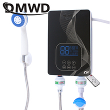 DMWD Instant Electric Tankless Hot Water Heater Remote Instantaneous Heating Tap Shower Machine LED Temperature Display Bathroom