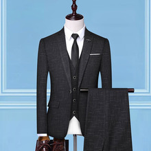 Dressv черный клетчатый мужской костюм блейзеры одна кнопка ретро джентльмен стиль сделанный на заказ Узкий покрой свадебные костюмы для мужчин 3 шт