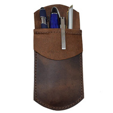 Pencil Case Vintage Retro Style Handmade Genuine Leather Pen Bag Cowhide Fountain Pencil Bag Holder Gift Office School Supplies