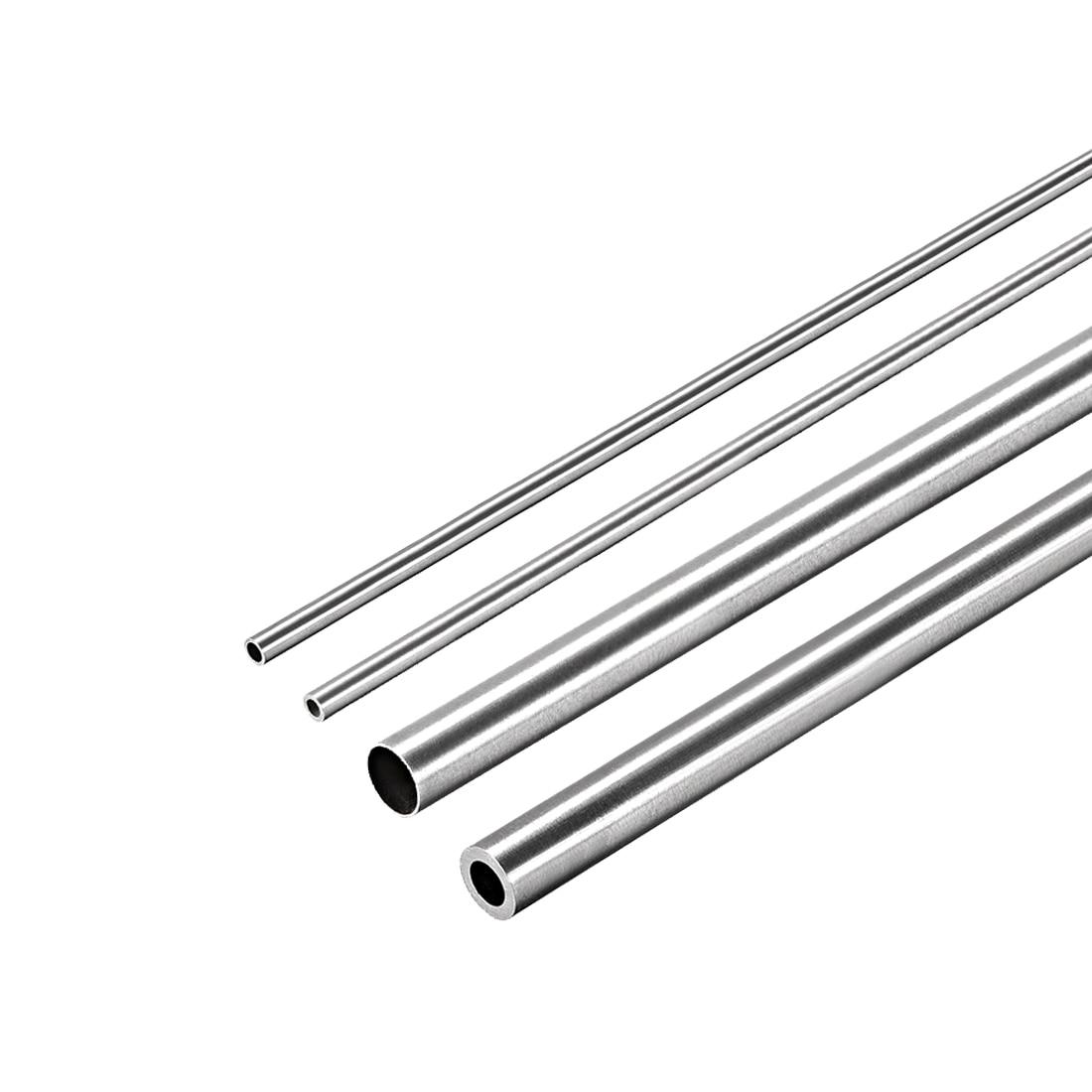 Uxcell, 4 Uds., tubo redondo de acero inoxidable 304, 2mm, 3mm, 4mm, 5mm, OD 250mm, tubo de tubo recto sin soldadura de longitud