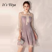 Женское короткое коктейльное платье it's yiiya фиолетовое